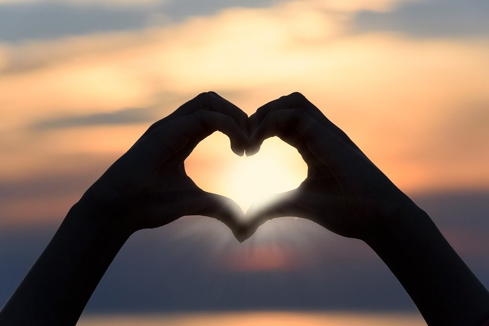 Corazón, El Amor, Puesta De Sol, Forma, Signo, Silueta